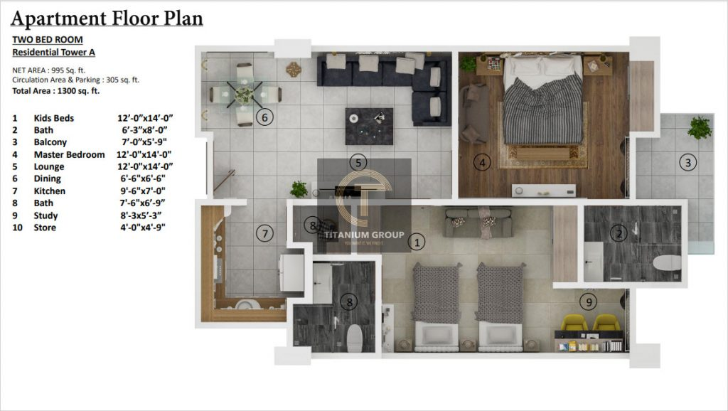 Grand Millennium Islamabad Apartment Floor Plan Two Bed Room