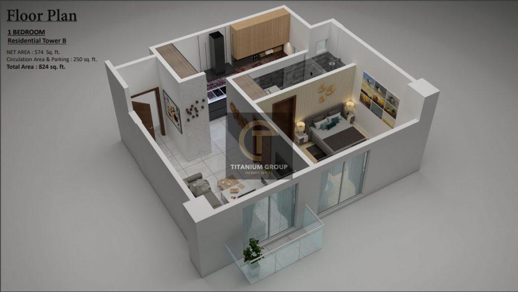 Grand Millennium Islamabad Floor Plan one bedroom 1