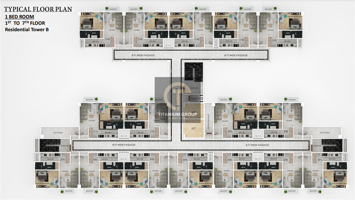 Typical Floor Plan one bed room 1st 2nd Floor